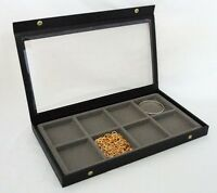 8 Slot Multipurpose Clear Top Jewelry Display Case Gray