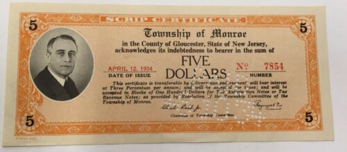 Township Of Monroe 1930' s New Jersey Scrip April 1934
