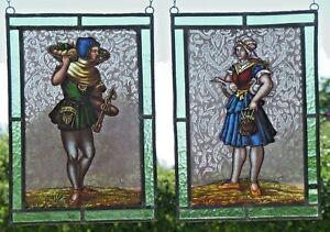 Bleiverglasung-2-antike-Fensterbilder-Glasmalerei-Gaensemagd-Obstverkaeufer