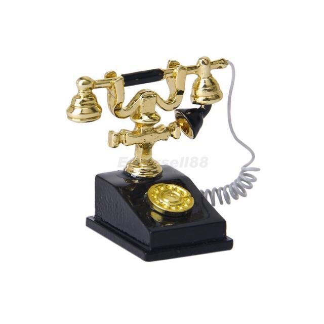 Dollhouse Vintage Antique Victorian Telephone Black & Gold Metal 1/12 Miniature