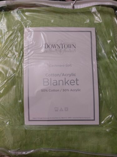 DownTown Company Cashmere Soft Blanket Cotton Blend Sage King NIP
