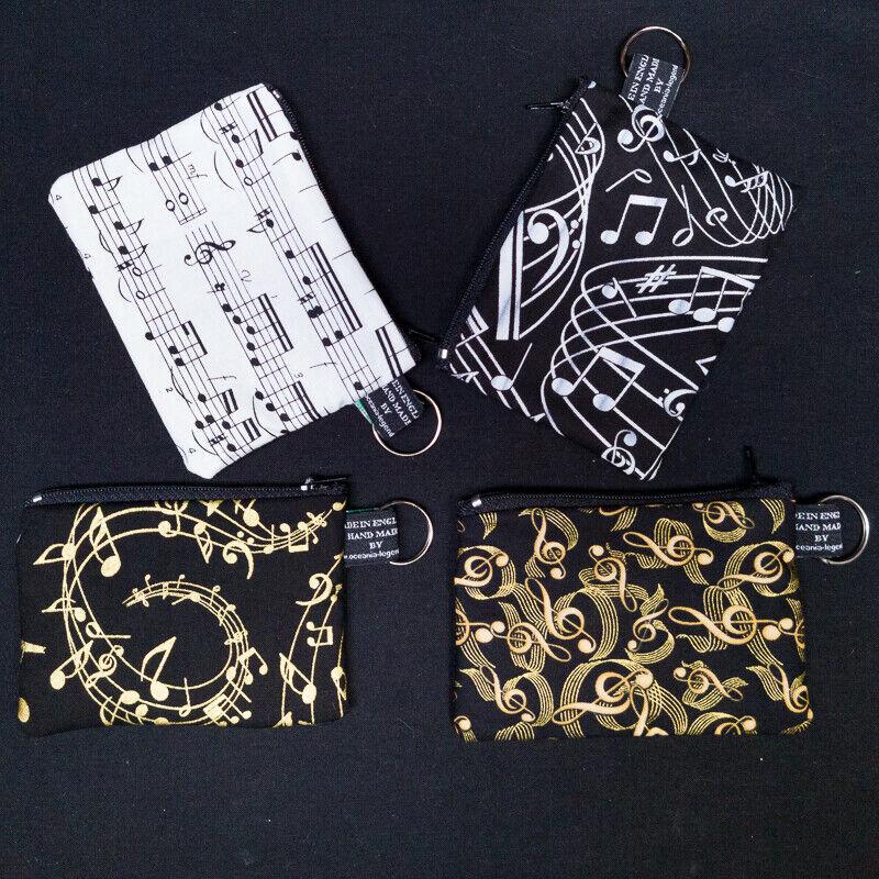 Musical Notes Sheet Music Musician Coin Purse Cash Money Wallet Cotton Xmas Gift