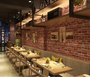 Modern Style Personality Retro Diamond Grain Brick 3d Dining Room Pvc Wallpaper Ebay