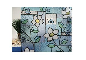 "Stained Glass Flowers Static Cling Window Film, 36"" Wide x 1 yd Sold by the yad"