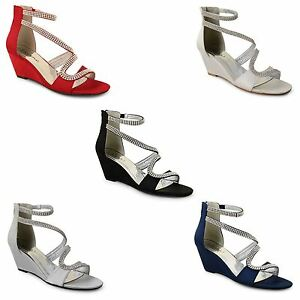 Womens Ladies Wedge Bridal Wedding Evening Diamante Zip Up Satin Sandals Shoes