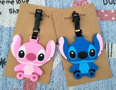 Cute 2pcs Lilo /& Stitch Luggage Tags Travel Suitcase Baggage Tag Holder Pendant