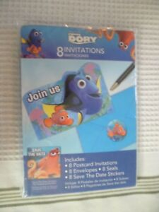 Birthday-Party-Finding-Dory-Invitations-Envelopes-Seals-Stickers-Set-of-8-New
