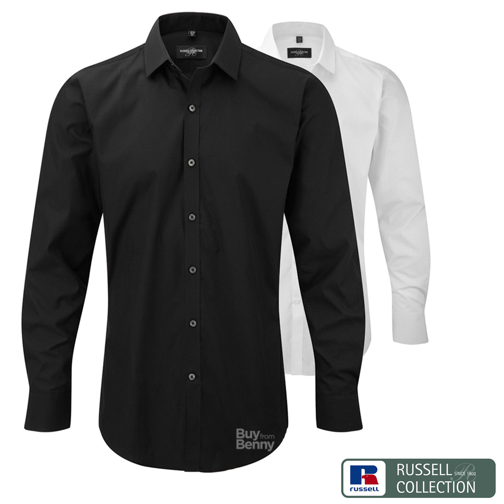 RUSSELL COLLECTION STRETCH LONG SLEEVE SHIRT FITTED LONGER FIT COLLAR SMART MEN