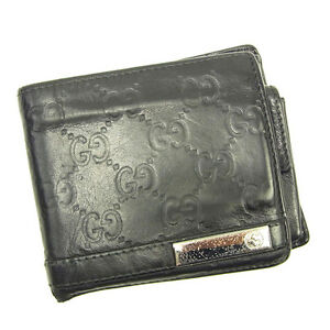 753011d8a35 Image is loading Gucci-Wallet-Purse-Bifold-Guccissima-Black-Silver-Mens-