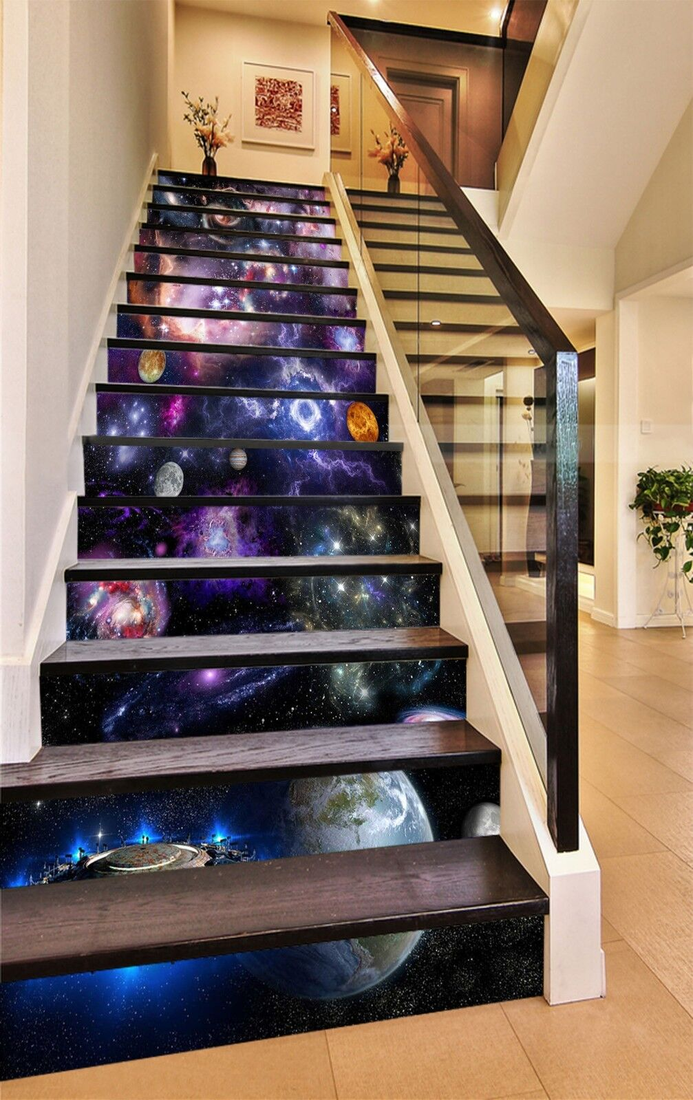3D The Milky way 4 Stair Risers Decoration Photo Mural Vinyl Decal Wallpaper UK