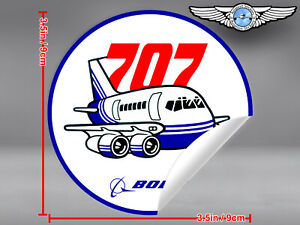 BOEING-707-B707-VINTAGE-PUDGY-STYLE-ROUND-DECAL-STICKER