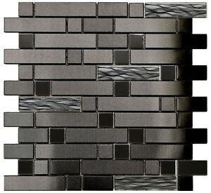 Image Is Loading Kitchen Bath Backsplash Fireplace Black Wave Stainless Steel