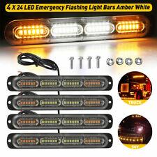 4x 24led Amberwhite Strobe Flashing Light Kit Car Truk Emergency Warning Beacon