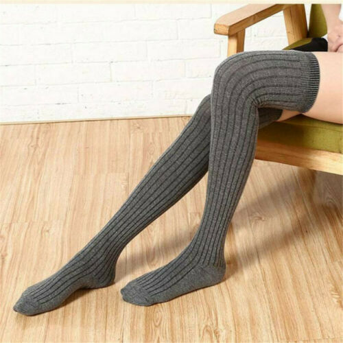 Warm Women Girl Wool Knit Over The Knee Socks Stockings Long Cotton Tights Thigh