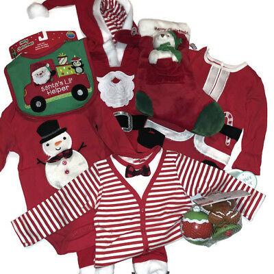 NEW Carter/'s Boys or Girls Christmas Set Santa 3 or 6 Months Bodysuits Bib Pants