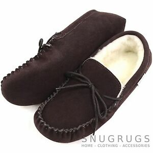 a113e2f4a3f Details about SNUGRUGS MENS GENUINE SUEDE MOCCASIN SHEEPSKIN SLIPPERS SOFT  SOLE DARK BROWN
