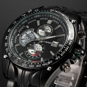 New-Luxury-Sport-Mens-Stainless-Steel-Date-Quartz-Analog-Black-Dial-Wrist-Watch