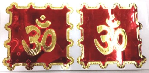 Shimmering Finish 2 x Bright Red Background and Gold Aum Foil Adhesive Sticker