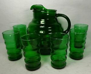 ANCHOR HOCKING crystal WHIRLY TWIRLY FOREST GREEN 7-piece Water Lemonade Set