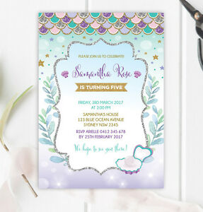 Image Is Loading Mermaid Birthday Invitation Under Sea Ocean Party Invite