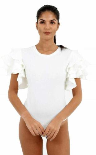 Womens Ladies Short Sleeves Ruffle Frill Arm Leotard Bodysuit Dress Top Shirt