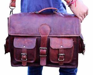 Small-TO-XX-Large-Men-039-s-Leather-Messenger-Bag-Shoulder-Business-Briefcase-Laptop