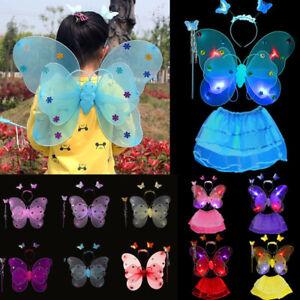 444aae307d21 Girls Kids Fairy Wings Butterfly Fancy Dress Up Costume Party Role ...