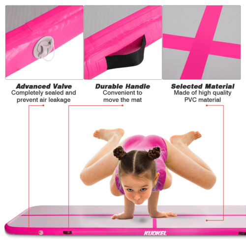KUOKEL 4m Tapis d/'exercice Gonflable Gymnastic Mat With Electric Air Pump
