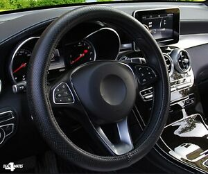 Car Steering Wheel Cover Glove Black Faux Leather 37-39cm Universal Easy Fit