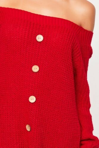 UK Women Winter Long Sleeve Off Shoulder Button Down Sweater Ladies Jumper Dress