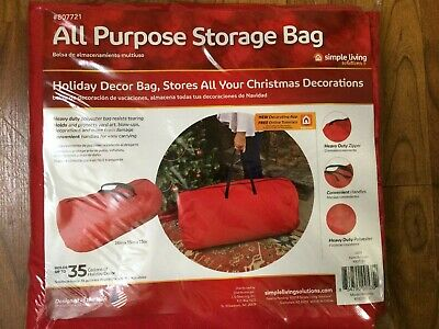 Simple Living Holiday All Purpose Storage Bag 36x15x15 Red Heavy Duty Christmas