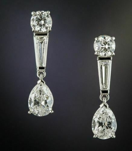 ct Round Pear /& Baguette Next to White Moissanite Diamond Stud Earrings Details about  /4.00