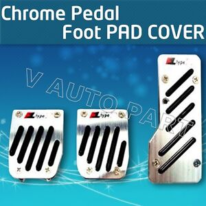 3PCS-Non-slip-Manual-Transmission-MT-CAR-TRUCK-CHROME-PEDAL-Foot-PAD-COVER-REST