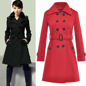 New Women's Wool Coat Military Trench Coat Belted Double-Breasted ...