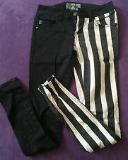 Royal Bones Black White Stripe Split Skinny Jeans Pants Asymmetrical Tripp Punk