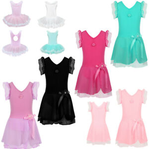 UK-Kids-Girls-Gymnastics-Leotards-Dress-Ballet-Dance-Tutu-Skirt-Stage-Dancewear