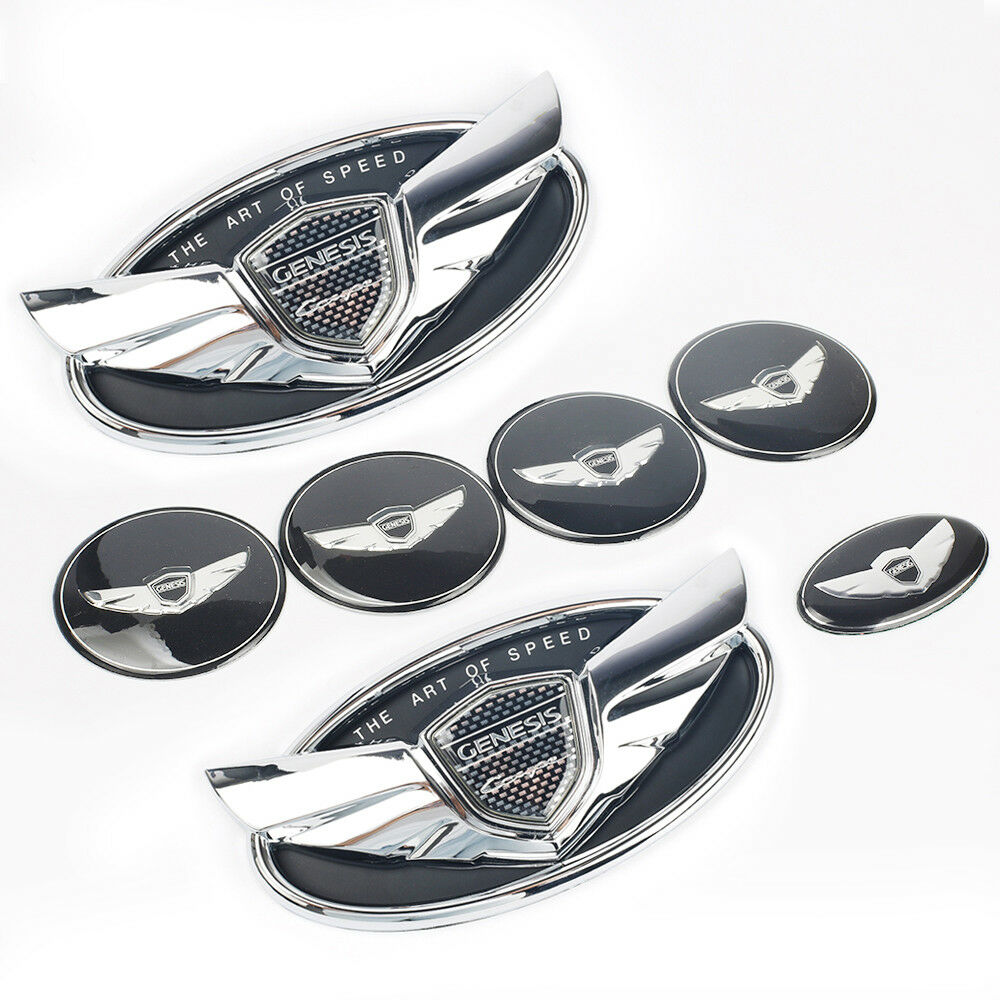 Set 7pcs 2010-2016 Fit For Hyundai Genesis Coupe Silver Chrome WING Logo Emblem