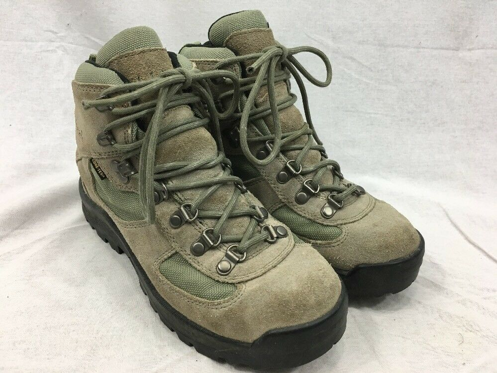 LL Bean Hiking Trail Boots Gore-tex Womens 8 Tan Green Suede Leather Lace Up