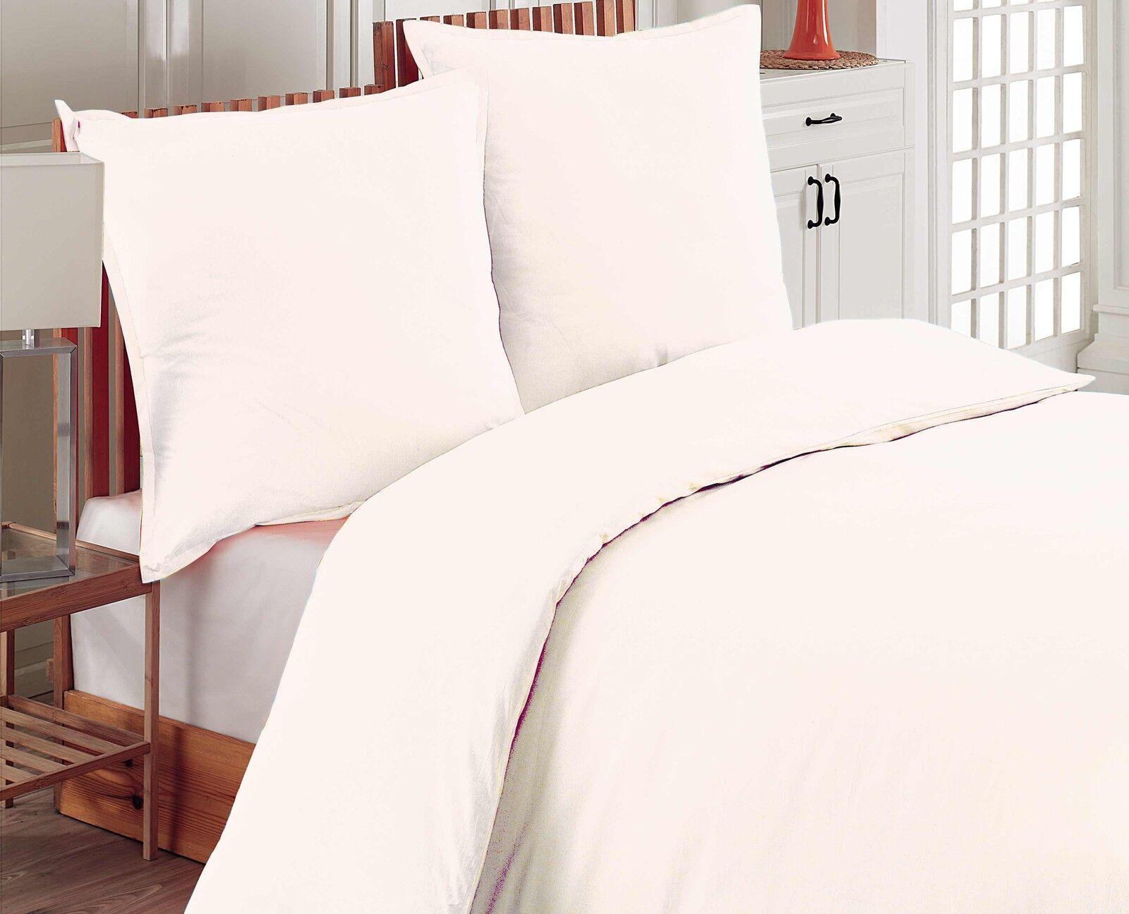 Bettwäsche 220x240 cm Bettgarnitur Bettbezug Baumwolle Kissen 6 tlg UNI WEISS