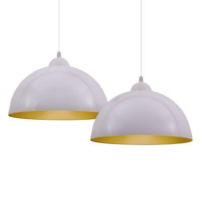 2x Pendelleuchte Design Hängelampe weiß-gold Esszimmer Küche Deckenlampe Leuchte