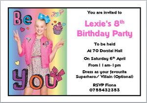 10 Jojo Siwa Bows Cream Crazy Big Birthday Invitations with Envelopes A6