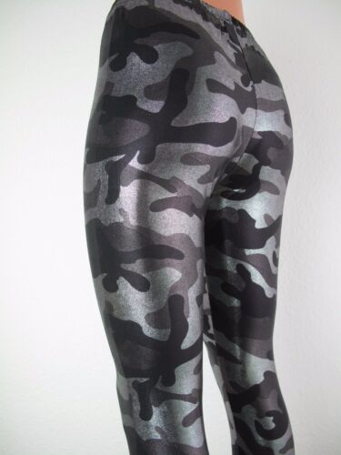 Wetlook leggings military look silber grün gold S-XXL Tarnmuster Militär Lack
