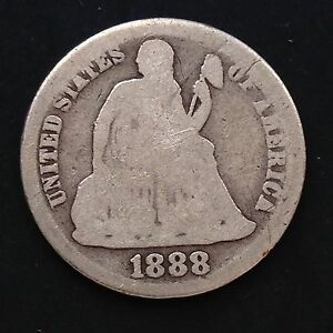 USA-1888-S-Seated-Liberty-Dime-10-Cent-San-Francisco-Selten-Silber-3578