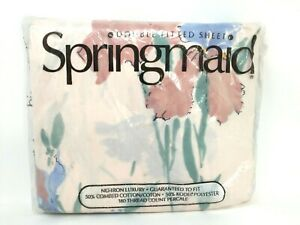 Vintage-SPRINGMAID-SHEET-IRIS-MIST-Double-Fitted-Percale-Sheet-NOS-1970-039-s