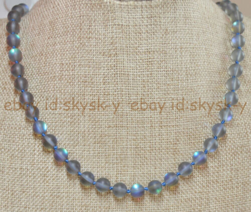 """Natural 10mm Gray Gleamy Rainbow Moonstone Round Gems Beads Necklaces 16-64/"""""""
