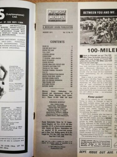 Magazine Motorcycle Scooter 3 Wheeler Mechanic Contents Index Shown Various