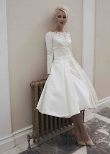 Image Is Loading Long Sleeve Satin Bridal Gown Tea Length Lique