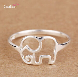 Solid-925-Sterling-Silver-Hollow-Out-Elephant-Animal-Kuckle-Band-Ring-Girls-New