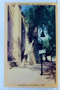 California-CA-San-Gabriel-Mission-Stairway-Postcard-Old-Vintage-Card-View-Post