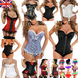 cad2aa658b0 UK Women Sexy Party Bustier Boned Corset Sets Shaper Basques+ ...